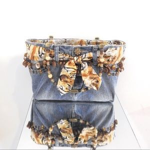 Handbags - Handmade Tiger & Denim Handbag